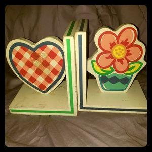 2 wooden book holders